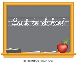 Blackboard, zurück zur Schule, Apfel