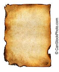 Blanke Grunge verbranntes Papier mit dunklen Grenzen