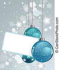 Blanke Label mit Weihnachtsbällen