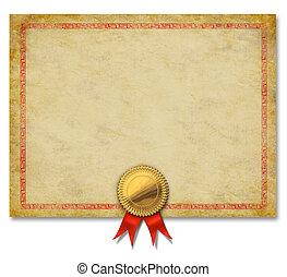 Blanke Urkunde mit goldenem Crestband.