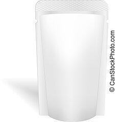 Blanke weiße Verpackung für Flüssigkeiten, Alkohol oder Essen. Vector. Produktpaket-Schnitt