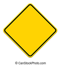 Blankes gelbes Schild auf weißem Hintergrund.