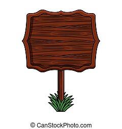 Blankes Holzzeichen.