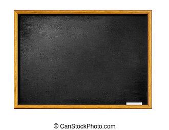 Blankes schwarzes Brett mit Holzrahmen und Stück Kreide