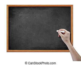 Blankes schwarzes Brett und Hand mit Kreide.