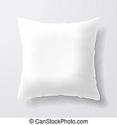 Blankes, weißes Kissen.