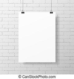 Blankes weißes Poster.