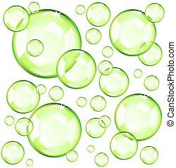 blasen, grün, durchsichtig