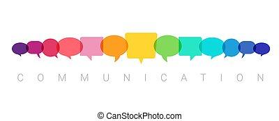 blasen, kommunikation, begriff, abbildung, vortrag halten , vektor