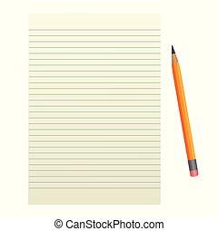 Blatt Papier mit einem Bleistift auf weißem Hintergrund.