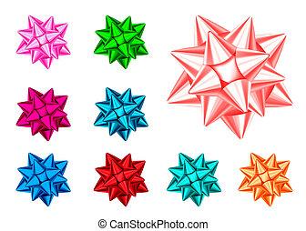 Blau, rot, grün, rosa, orange glänzender Geschenkbogen.