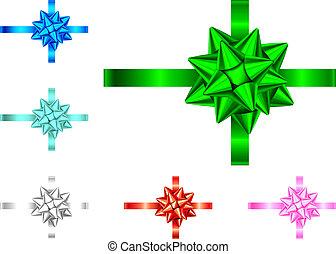 Blau, rot, grün, rosa, silbernes Geschenkband und Bogen.