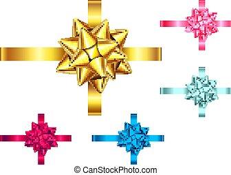 Blau, rot, rosa, goldenes Geschenkband und Bogen.
