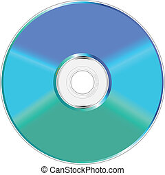 Blau und grüner Compact Disc.