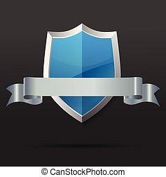 Blau und Silberschild mit Band. Vector Illustration.