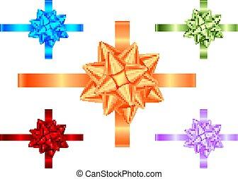 Blau, Violett, Grün, Orange, rote Geschenkbänder und Bogensammlung.