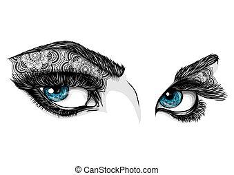 Blaue Augen einer Frau mit Ornamenten.