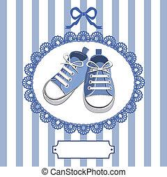 Blaue Babyschuhe und Bild