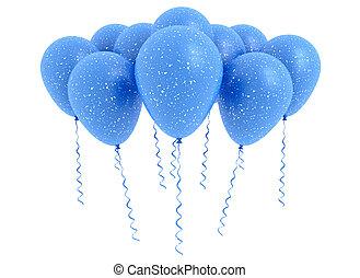 Blaue Ballons, isoliert auf weiß.