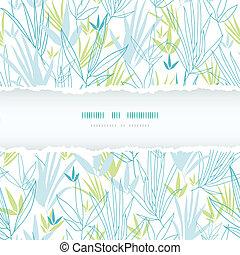 Blaue Bambuszweige zerrissen Rahmen nahtlos Hintergrund.