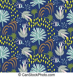 Blaue botany Muster nahtlose Vektorstruktur.