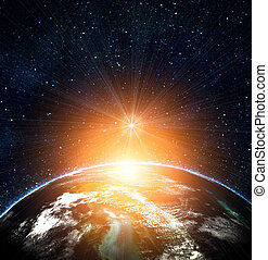 Blaue Erde im Weltraum mit aufgehender Sonne
