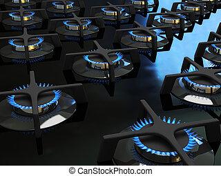 Blaue Gasflamme auf dem Hobbe 3D