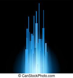 Blaue gerade Linien abstrakt auf schwarzem Hintergrund. Vector