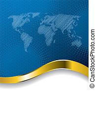 Blaue Geschäftsbroschüre mit Weltkarte und halbtot