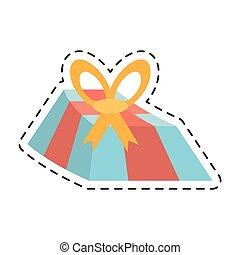 Blaue Geschenkbox gelber Bogen und rotes Band gepunktet.
