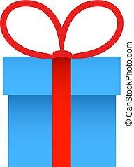 Blaue Geschenkbox mit rotem Schleifenbogen. Vector Illustration
