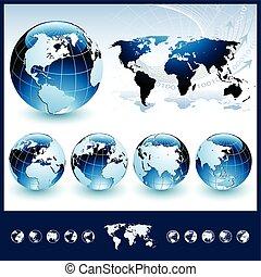 Blaue Globen mit Weltkarte.