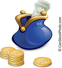 Blaue Handtasche mit Geld