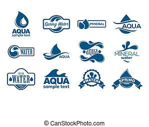 Blaue Logos bereit. Ein Label für Mineralwasser. Aqua Icons Sammlung.