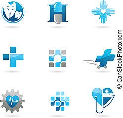 Blaue Medizin und Gesundheits-Ikonen und Logos