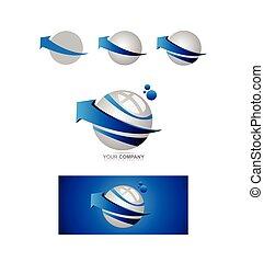 Blaue Pfeilkugel 3d Logo.