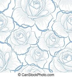 Blaue Rosen auf weißem, nahtlosem Muster.