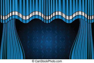 Blaue Theatervorhänge. Vector