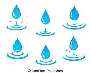 Blaue Wassertropfen, Set und Splash.