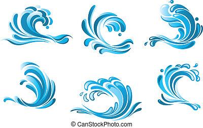 Blaue Wasserwellen Symbole.