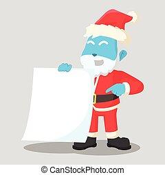 Blaue Weihnachtsmannklausel mit leerem Papier.