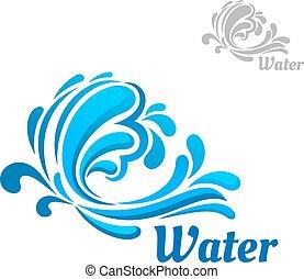 Blaue Welle mit Wasserspritzen und Tropfen.