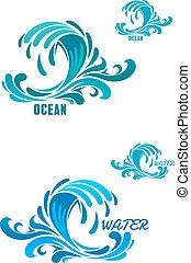 Blaue Wellen-Icons mit Wirbelwassertropfen.