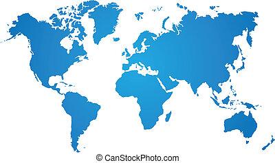 Blaue Weltkarte auf weißem Hintergrund.