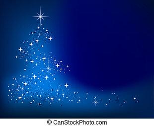 Blauer, abstrakter Winter mit Sternenhimmel