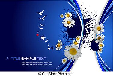 Blauer Blumen Hintergrund. Vektor Illustration