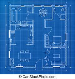Blauer Bodenplan