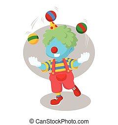 Blauer Clown jongliert.