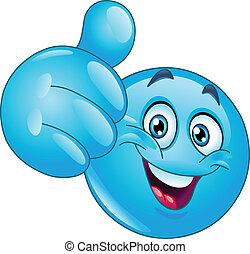 Blauer Daumen nach Emoticon.