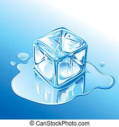 Blauer Eiswürfel.